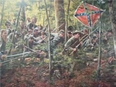 """May 2nd, 1863 nearly 30,000 Confederates under """"Stonewall"""" Jackson hurled themselves against the flanks of Hooker's Union army in Pennsylvania near Chancellorsville. As the Confederates line of battle pressed through the woods the wildlife fled before them and into the Union camps. See the rabbit in the foreground. Certificate of Authenticity comes with the print.  Image Size 24.5 x 30 3/4"""" Condition mint.  Limited edition of750"""