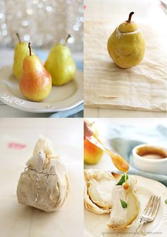 Pears stuffed with ice cream and baked in phyllo dough.