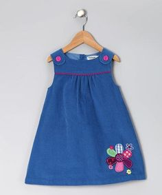 Look at this Blue Corduroy Flower Jumper - Infant & Toddler Frock Patterns, Baby Dress Patterns, Baby Girl Fashion, Fashion Kids, Little Girl Dresses, Girls Dresses, Kids Frocks, Toddler Dress, Infant Toddler