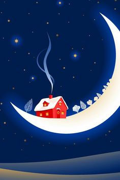 Luna - cabin on the moon Art Carte, Moon Illustration, Sun Moon Stars, Moon Pictures, Good Night Moon, Beautiful Moon, Moon Art, Illustrations, Moon Child