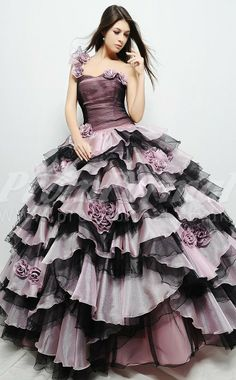 Organza One Shoulder long prom dresses