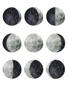 "Artistically interpreted phases of the moon. Original hand painted watercolor design Comes in size 8x10"" Printed with high quality inks on wat..."