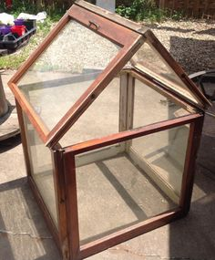 Another repurposed window greenhouse. Window Greenhouse, Recycled Materials, Crafts To Make, Terrarium, Repurposed, Recycling, Gardening, Crafty, Flowers