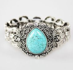 Pear Shaped Turquoise Silver Bracelet [SOURCE]
