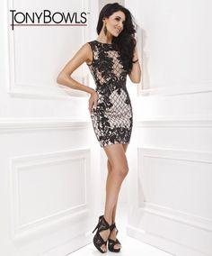 Tony Bowls Slim Open-Back Cocktail Dress Best Prom Dresses, Black Prom Dresses, Club Dresses, Formal Dresses, Dress Black, Tony Bowls, Short Cocktail Dress, Lace Sleeves, Backless