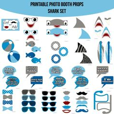 boy birthday party ideas and inspiration Ocean Party, Shark Party, Photos Booth, Photo Booth Props, 6th Birthday Parties, Boy Birthday, Birthday Ideas, Baby Shark, Shark Jaws