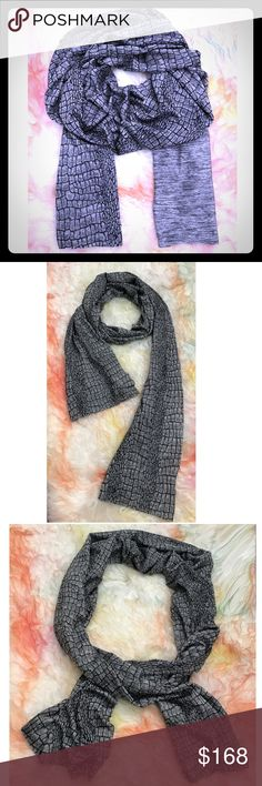 Crocodile reptile print silver slate bamboo scarf Gorgeous silky gray, silver and charcoal crocodile reptile print bamboo scarf by indie designer. Soft and silky! Wrap it around you. So fun Neiman Marcus Accessories Scarves & Wraps