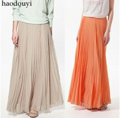 2014 new  fashion nude color bust maxi pleated skirt long autumn-summer chiffon skirts for women faldas free shipping