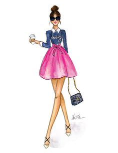 Daily Darling  Watercolor Blogger Fashion by KaraEndres on Etsy
