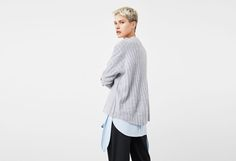 Cashemere oversize grey sweater by Mango capsule collection.