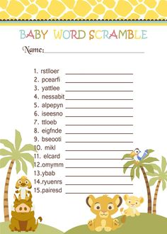 Simba Lion King Baby Shower Games - Word Scramble $3.99