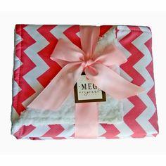 Pink Chevron Stripe Chenille Stroller Blanket - Meg Original Stroller Blankets