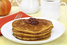 Coconut Pancakes -- This easy recipe transforms typical pancake mix into a tasty tropical treat! Adding coconut oil can fight fat, lower cholesterol, and improve your immunity. two pancakes are only 100 calories and 2 grams of fat! Gluten Free Pumpkin Pancakes, Pumpkin Protein Pancakes, Coconut Pancakes, Thanksgiving, Pumpkin Recipes, Spiced Pumpkin, Canned Pumpkin, Fall Recipes, Pumpkin Chili