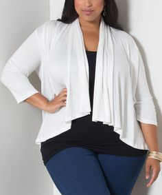 Another great find on #zulily! White Drape Open Cardigan - Plus by Sealed With a Kiss Designs #zulilyfinds