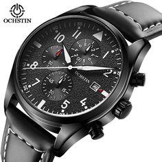 18.99$  Watch now - Luxury Men's Quartz Wristwatch Chronograph Luminous 6 Hands Work Fashion Leather Waterproof Sports Watches relogio masculino  #magazine