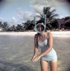 """""""Maggie in snorkeling gear"""",October 1958, Montego bay, Jamaica."""