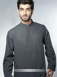 #Men's #shalwar #kurta with plain collar and embroidered shoulders in battleship gray color http://www.needlehole.com/mens-shalwar-kurta-in-battleship-gray-color.html Designer #kurtas for men and pakistani kurta #salwar suit. Latest men's #shalwar #kameez online and indian kurta shalwar collection by needlehole fashion stores in usa, uk
