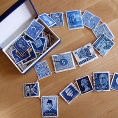 blue stamp garland