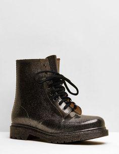 bottes pailletées à lacets noir pailletés