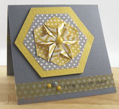 handmade card from Create With Me ... gray, yellow and white ... hexagon theme ... luv the star made with folded hexagons on layered hexagon die cuts ... strip of washi and enamel dots ... wonderful card!!