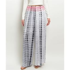 White Tie Dye Wide Leg Palazzo Pants Size Large Springs hottest trend!  White and charcoal wide leg palazzo pants, smocked waist, 109% Rayon.  Size large.  No Trades, Price Firm unless Bundled.  BUNDLE 3 OR MORE ITEMS FOR 15 % OFF. Boutique Pants Wide Leg