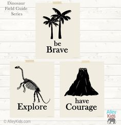 Set of 3 Dinosaur theme nursery art. Be Brave, Explore and Have Courage prints feature an dinosaur skeleton, prehistoric trees and a volcano. Perfect for a Dinosaur nursery or kids bedroom. #nursery #art #dinosaur
