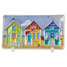 """Glass tray with a seaside cottage motif in a display easel.  Product: Tray and easelConstruction Material: GlassColor: MultiFeatures: Display easel includedDimensions: 10.7"""" H x 17.9"""" W x 3.3"""" D (overall)"""