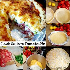 Classic Southern Tomato Pie If you even remotely like tomatoes or pizza; you have to try this classic southern tomato pie! This is a summer staple around our house. My oldest daughter and I can e… Summer Recipes, Great Recipes, Dinner Recipes, Dinner Ideas, Most Delicious Recipe, Delicious Dishes, Southern Tomato Pie, Keep Recipe, Farmers Market Recipes