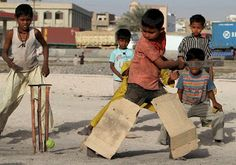 Kids play cricket in Bangladesh.  Such a delight!