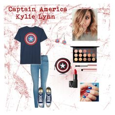 """Captain America"" by kylielynn530 ❤ liked on Polyvore featuring JEM, Converse, Marvel, Loungefly, MAC Cosmetics, NARS Cosmetics and Too Faced Cosmetics"