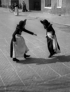 Girls in costumes, Volendam, 1950s  photo byCas Oorthuys