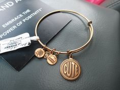 ALEX AND ANI BRACELET WORDS ARE POWERFUL * CUTE * RETIRED RUSSIAN GOLD #AlexandAni #Bangle