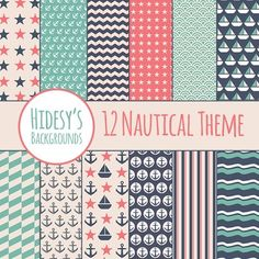 12 Nautical themed Papers or Digital Backgrounds or Textures or Patterns.Digital backgrounds are great for digital and print use including powerpoint, scrapbooking, invitations, worksheets, cards, etc.All files are 20 inch by 20 inch squares, at 300dpi.
