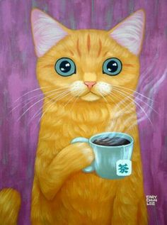 HOT TEA Art Print - cat drinking tea by Cary Chun Lee and like OMG! get some yourself some pawtastic adorable cat apparel! I Love Cats, Crazy Cats, Cool Cats, Catsu The Cat, Tee Kunst, Art Fantaisiste, Gatos Cats, Cat Drinking, Cat Posters