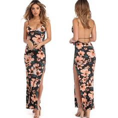 f8dbc5d4c2 New Fashion women s flowers printed halter back party sexy long dress  women s casual beach style back harness printing split