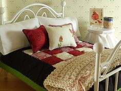 Miniature Black & Red Hand Quilted Dollhouse by TheLittleEmptyNest