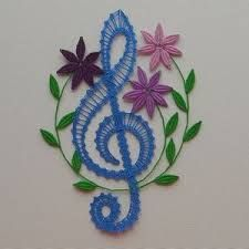 Resultado de imagen de podvinky paličkování Cross Stitch Embroidery, Embroidery Patterns, Crochet Patterns, Chicken Scratch, Lacemaking, Music Decor, Treble Clef, Bobbin Lace, Crochet Lace