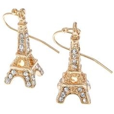 Crystal 3D Eiffel Tower Paris France Theme Gold Plated Dangle Earrings... (22 CAD) ❤ liked on Polyvore
