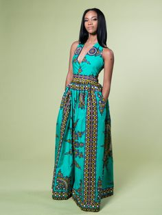 Mabelle Dashiki Maxi Dress (Light Green)