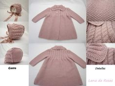 Paz Rodriguez Baby Girls Pink Pram Coat and Bonnet Baby Cardigan, Baby Pullover, Knitting For Kids, Baby Knitting Patterns, Baby Patterns, Baby Outfits, Matilda, Tricot Baby, Knitted Baby Clothes