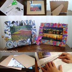 Photo frames made from tetra pak and magazine pages- tutorial