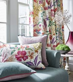 #prestigioustextiles #harlow #floral #flowerprint #homedecor #summer #summergarden #interiordesign #passionfruit #pretty Textile Design, Fabric Design, Prestigious Textiles, Summer Garden, Spring Summer, Modern Prints, Flower Prints, New Homes, Throw Pillows
