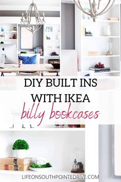 Step-by-step tutorial to turn Ikea Billy Bookcases into custom looking built-ins | DIY Built Ins | DIY Built Ins with Ikea Billy Bookcases | DIY Bookcase Tutorial | How to Build Living Room Built Ins | Ikea Built Ins Hack | Ikea Hacks