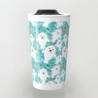 Travel Mug featuring White cute fur seal and fish in water by EkaterinaP