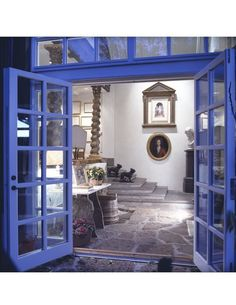 Periwinkle Blue is the best of French Blue... love the windows above the doors for height