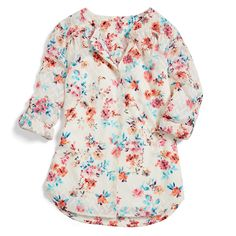 https://www.stitchfix.com/referral/3590654 Friday Fixation: The flurry of floral print & color in this beautiful blouse. Pair it with dark-wash denim or your go-to navy pencil skirt. (Croft Roll Tab Blouse)