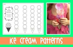 Summer Ice Cream Patterning Printable  - Pinned by @PediaStaff – Please Visit  ht.ly/63sNt for all our pediatric therapy pins