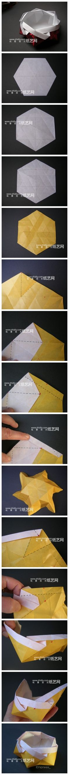 Origami dish. Photo diagrams.