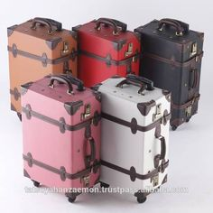 Look what I found Via Alibaba.com App: - hot selling in Japan classical design wholesale vintage style PVC antique retro luggage travel bags