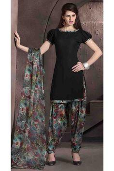 Dressy Black Crepe Print Work Patiala Salwar Suit